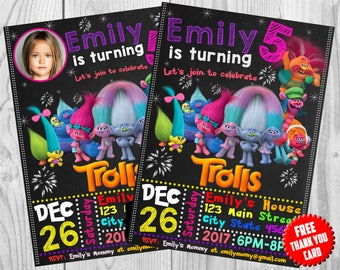 Trolls Birthday Invitation, Trolls Invitation Download, Trolls Invitation, Trolls Invite, Trolls Party, Trolls Invitation with Photo