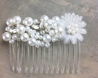 wedding ivory organza flower hair comb