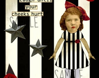 Girl, Collage Altered Art Ephemera Altered Art, Instant Download, Digital Original Sheet
