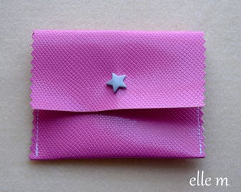 Simi textured leather jewel pouch pressure rose with grey star
