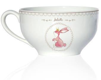Child porcelain deep Bowl - model rabbit