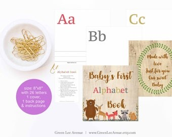 Forest Animals Alphabet Book Baby Shower, 8x8 Baby's First ABC Book, baby shower activity, DIY ABC book printable, bear, deer, fox, raccoon