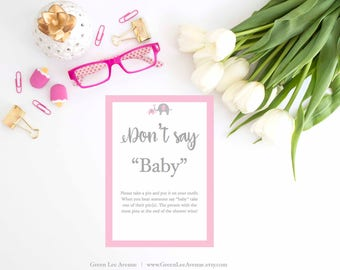 Don't Say Baby, Pink Gray Elephant Baby Shower Games, Printable, Baby Girl Shower, Printable, gla0030P
