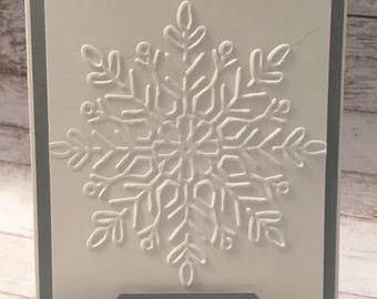 Christmas Card, Classic Christmas Card, Handmade Card, Silver Foil, Embossed Snowflake, Elegant Card, Stampin' Up!