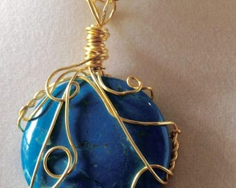 Wire wrapped Howlite pendent