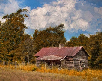 Old FarmhouseOld Barn PaintingOld House PaintingSquare PaintingFarm