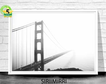 San Francisco Print, Golden Gate Bridge, Golden Gate, San Francisco Photo, Wall Art Print, Bridge Print, Digital Print, Black and White