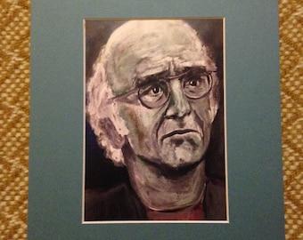 Larry David, matted print