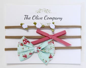 The Alice - A collection of three handmade bows on nylon headbands or metal clips
