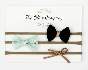 The May - A collection of three handmade bows on nylon headbands or metal clips