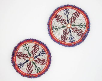 XL Pair of Beaded Medallions • Tribal Gul • Vintage Textiles • Applique