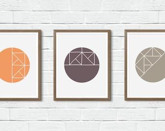 Set of Three Prints, Geometric Prints, Geometric Wall Art, Circle Prints, Circle Wall Art, Geometric Circle Art, Series Wall Art, Circle