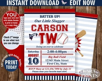 INSTANT DOWNLOAD / edit yourself now / Birthday Invitation / Second / Baseball / TWO / Sports / Invite / All star / 2nd / Ball red blue DSP5
