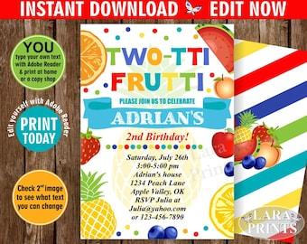 INSTANT DOWNLOAD / edit yourself now / Birthday Invitation / Two-tti Frutti / Twotti Frutti Party / Tutti Fruity / Tutti Fruitti / BDTF3