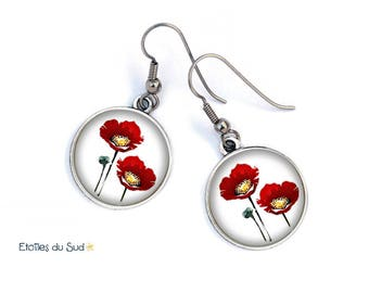 Earrings and red poppies, flowers, white, anti allergic banker. N136