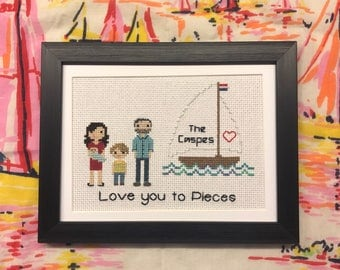 Two Adults, One Child, One Baby and Background/Accessory Stitch Portrait