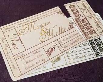 Vintage Theatre Ticket Wedding Invitation | Cinema Invitation | Ticket Stub RSVP