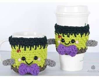 Halloween Crochet Frankenstein Cup and Mug Cozy