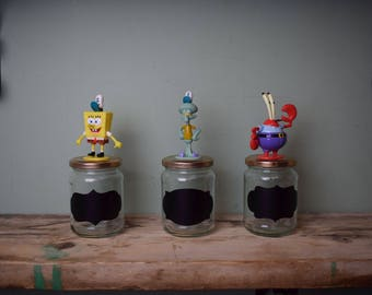 Upcycled Spongebob Squarepants Storage Jars