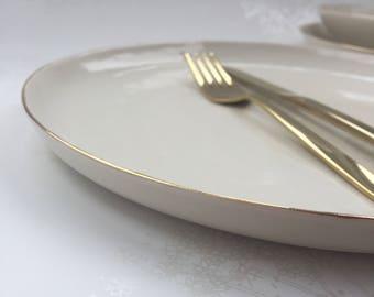 Gold Rimmed Ceramic White Plate. Large Glazed Porcelain Dinner Plate. Minimalist Design. Elegant Dining. Home Decor. FebbieDay Ceramics.