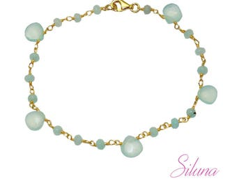 Bracelet aqua chalcedony and vermeil (sterling silver 925 gold plated)