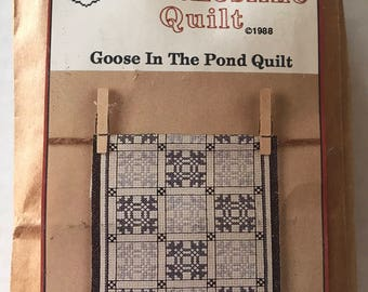 Cross Stitch Kit /Vintage/Cross My Heart/ Clothesline Quilt/Goose in the Pond/ quilt lovers gift/friend gift/