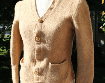 40s/50s Camel Wool Cardigan Sweater - AS IS