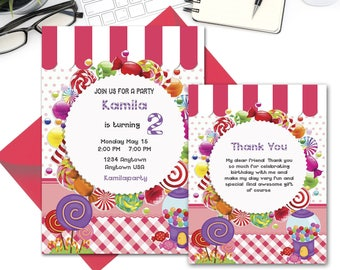 Custom Candy Land Birthday Invitation, Thank you Cards, Candy Invitation, Sweet Candy Shoppe Invitation Printable, instant download;20000344