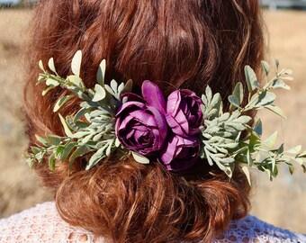 silk flower comb, floral hair comb, purple bridal comb, purple flower comb, purple wedding comb, wildflower hair comb, custom bridal comb,