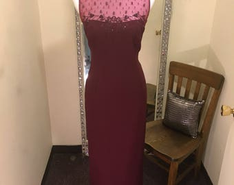Burgundy Formal dress, Burgundy Bridesmaid dress, prom dress, formalwear, cruise dress, illusion neckline, New.