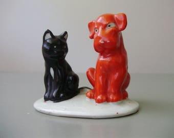 Vintage porcelain figurine ,cat and dog friendship,handpainted