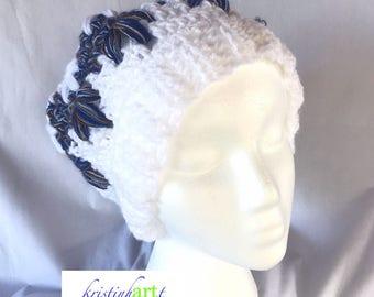 Snowflake Winter Hat with Pom Pom / Handmade Crochet / Women's Gift Idea / Warm / White / Blue / Brown / Women's Size