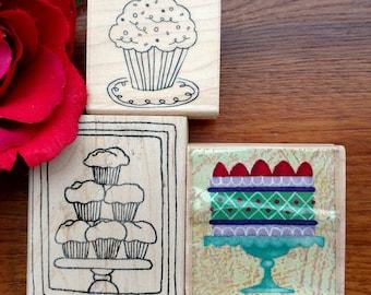 Cupcake Rubber Stamps Set of 3, Cupcakes, Cake, International Greetings, Hero Arts, Lockhart