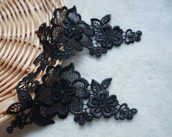 Set of 2 flowers black PATCH APPLIQUE was sew REF 2307
