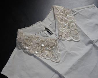 False collar in ecru pearls REF 1821