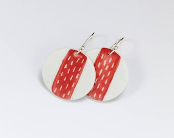 Perforated - Large Red Earrings