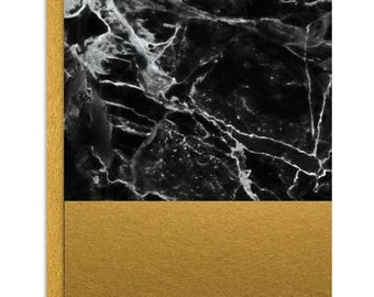 Black Marble and Gold Foil Notecard Set