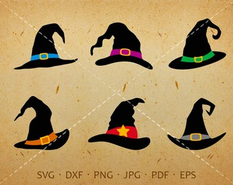 Halloween Witch Hat SVG, Witch Hat Clipart Shirt SVG Silhouette Cricut Cut Files (svg, eps, dxf, jpg, png, pdf)