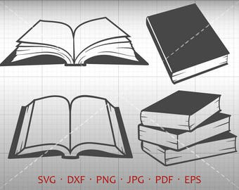 Book SVG, Library Clipart, School Student SVG DXF Silhouette Cricut Cut File Vector Commercial Use