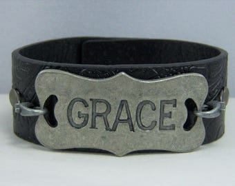 B222, Leather Cuff Bracelet
