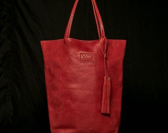 "Leather ""Ibiza"" Tall Tote Handbag"