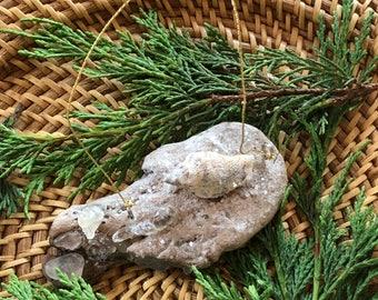 Driftwood sea glass ornament