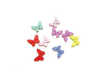 20 wooden 2 hole Butterfly color randomly sewing button