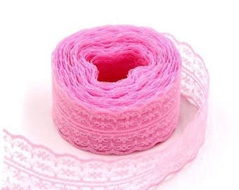 1 Ribbon lace tulle embroidered lace rose 45 mm