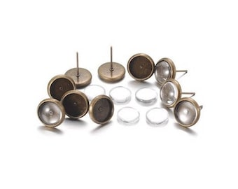 10 sets Bronze studs and 10 Cabochons 10 mm