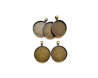 5 pendants Antique Bronze (suitable for Cabochon 30mm Dia.)