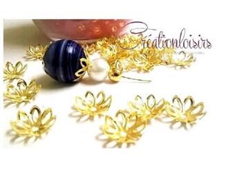 30 accessory beads caps Ajoure Golden Flower