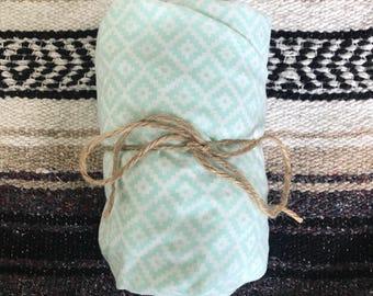 Light blue aztec print crib sheet
