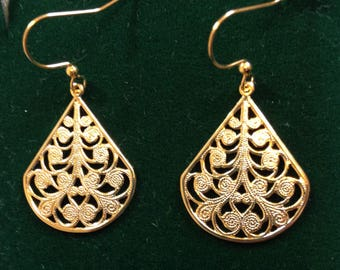 Ornate Gold Tone Earrings