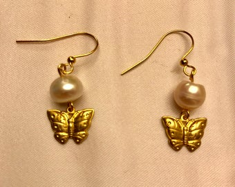 Butterfly On A Pearl Dangle Earrings